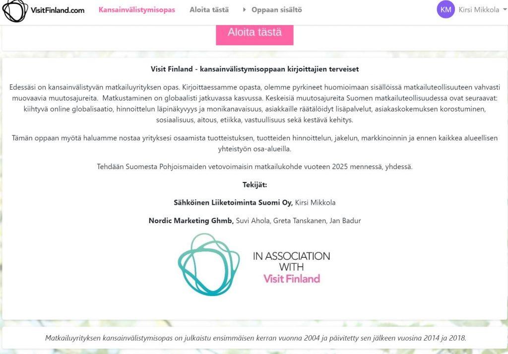visitfinland kansainvälistymisopas matkailuyrityksille on käytettävissä nyt e-learning ympäristössä